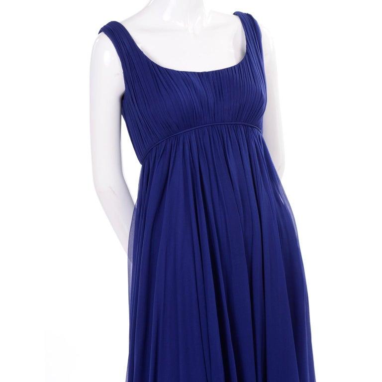 1960s Vintage Malcolm Starr Blue Silk Chiffon Empire Waist Dress For Sale 3