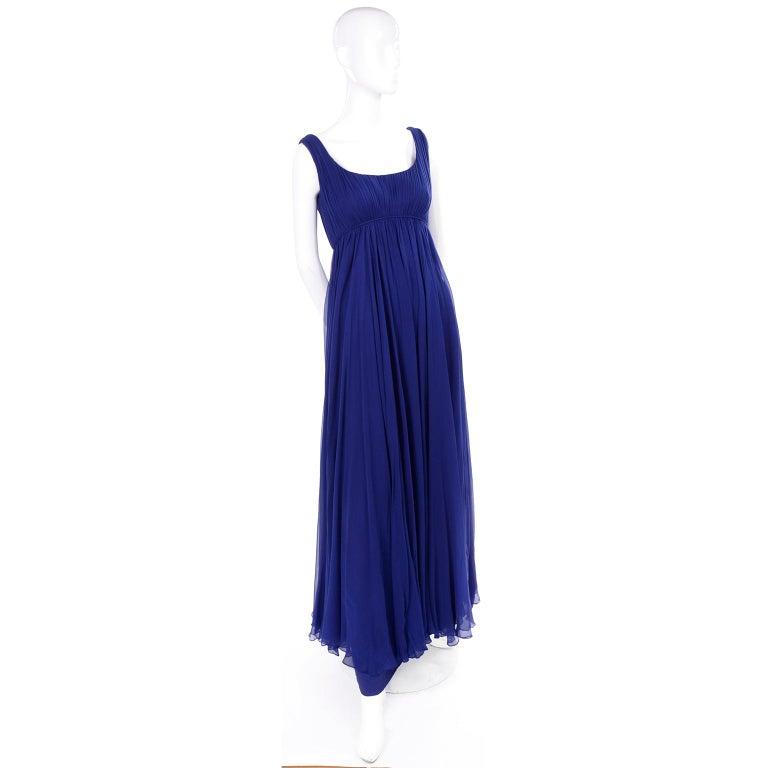 1960s Vintage Malcolm Starr Blue Silk Chiffon Empire Waist Dress For Sale 4