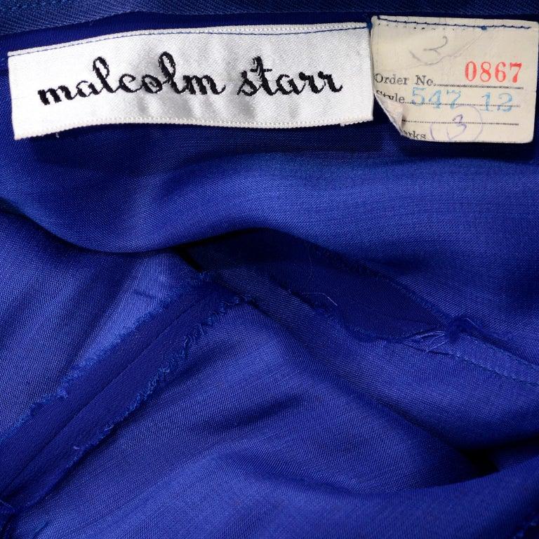 1960s Vintage Malcolm Starr Blue Silk Chiffon Empire Waist Dress For Sale 5
