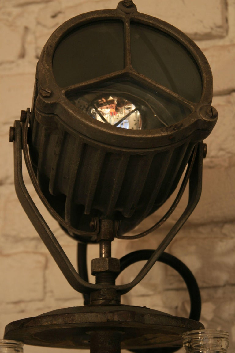 Cast 1960s Vintage Manual Marine Searchlight Type 135 For Sale