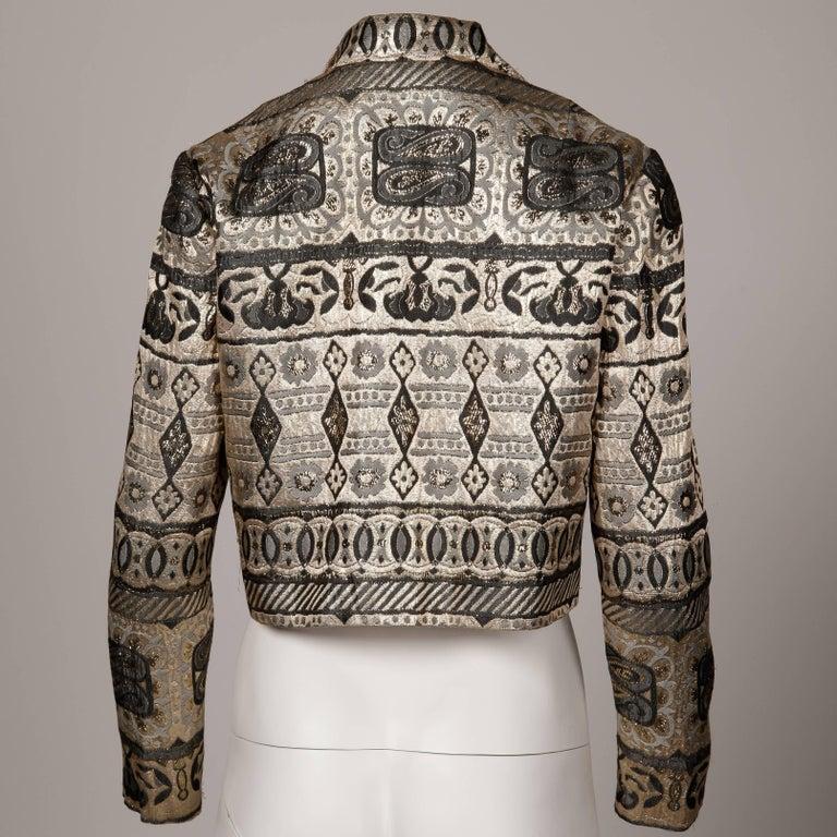 Gray 1960s Vintage Metallic Brocade Jacket For Sale