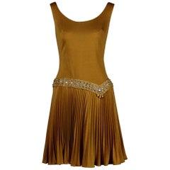 1960s Vintage Metallic Gold Cocktail Dress w/ Embellished Rhinestone Drop Waist