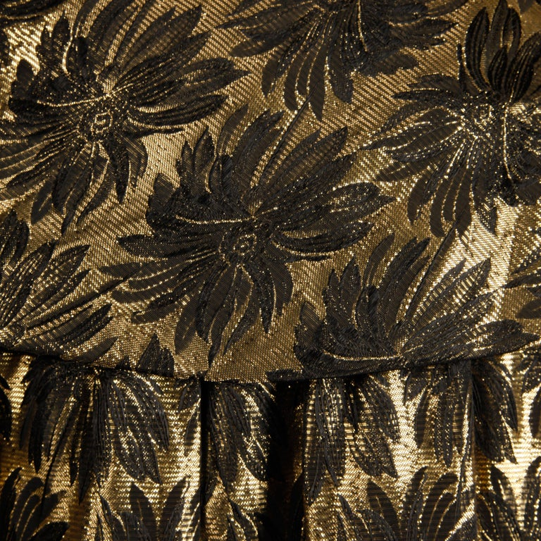 Women's 1960s Vintage Metallic Gold Damask Opera or Evening Coat with Pop Up Collar For Sale