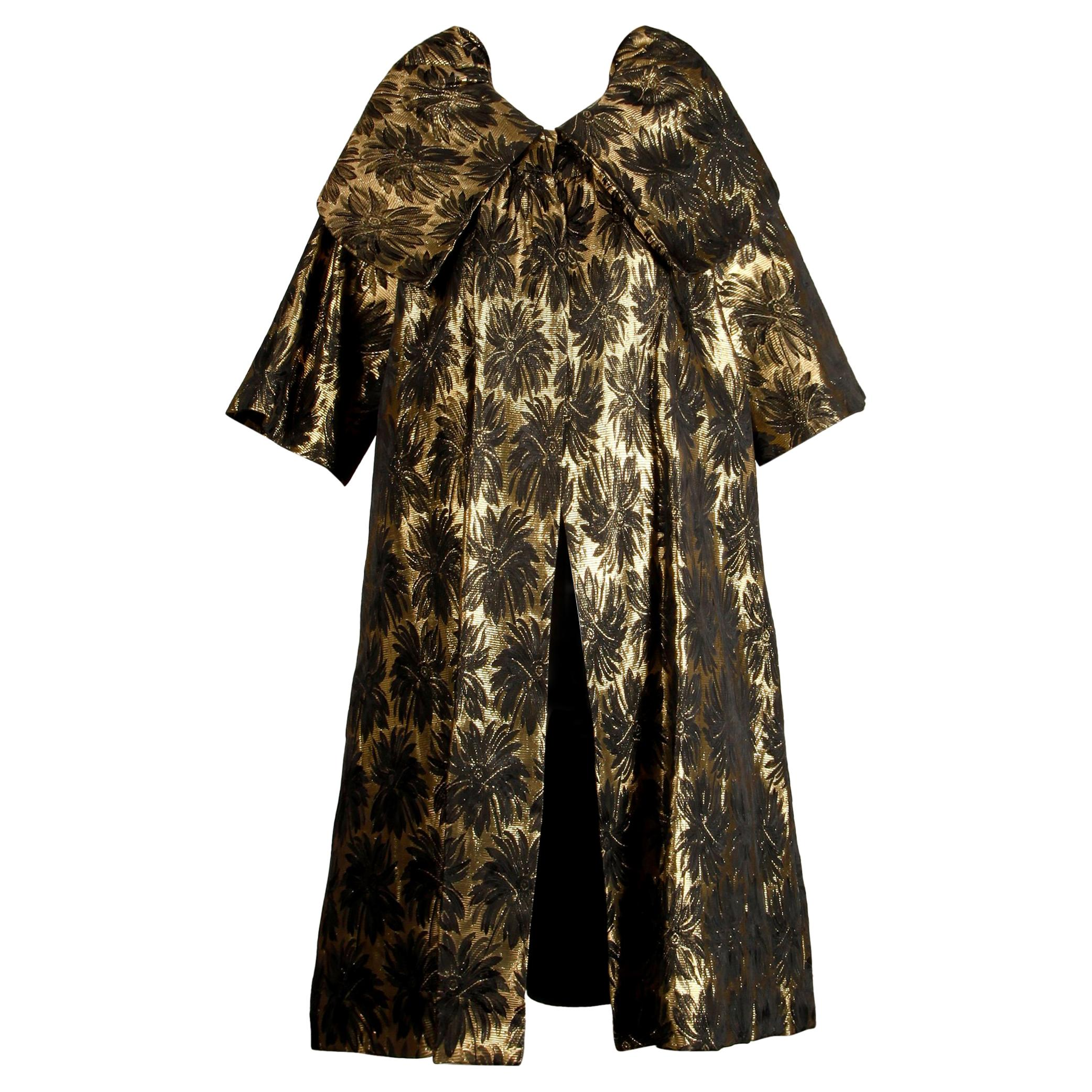 1960s Vintage Metallic Gold Damask Opera or Evening Coat with Pop Up Collar