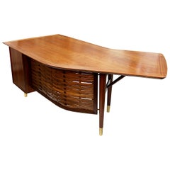 1960s Vintage Mid-Century Modern Walnut Boomerang Executive Desk by Alma