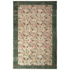 1960s Vintage Midcentury Rug Pink and Green Transitional Floral Pattern