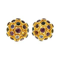 1960's Vintage Multi-Gem 18 Karat Gold Sputnik Cluster Earrings