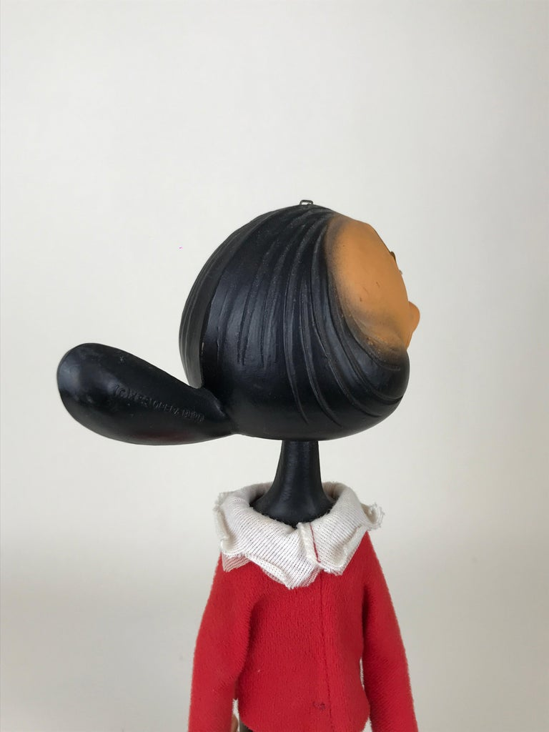 Fabric 1960s Vintage Olive Oyl Toy with Nodding Head Made in Italy for Sperlari For Sale