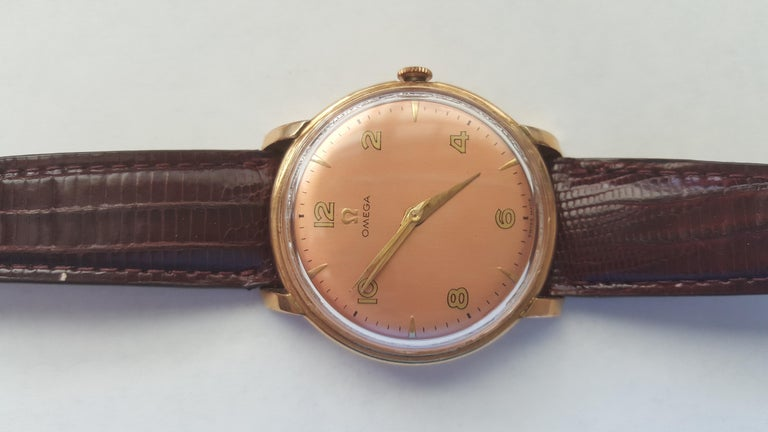 1960s Vintage Omega Watch Rose Gold Filled Rose Gold Dial Leather Band For Sale 6