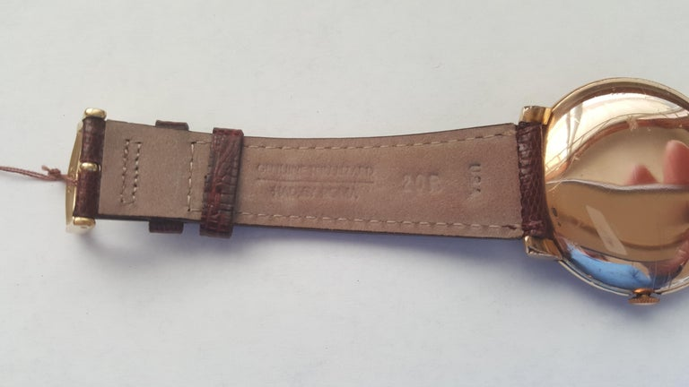 1960s Vintage Omega Watch Rose Gold Filled Rose Gold Dial Leather Band For Sale 8