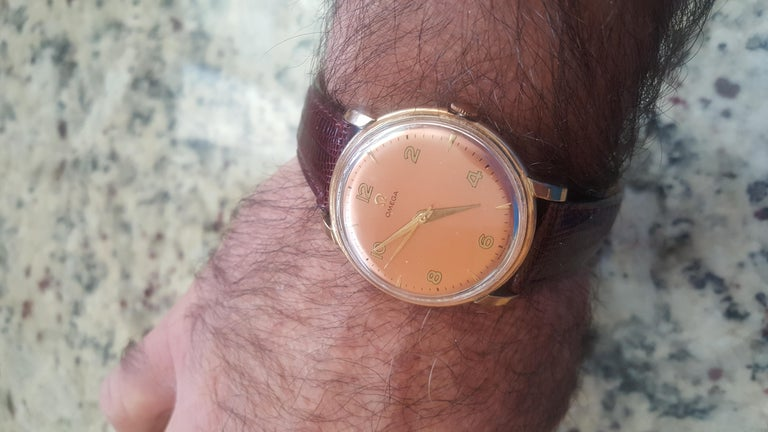 Retro 1960s Vintage Omega Watch Rose Gold Filled Rose Gold Dial Leather Band For Sale