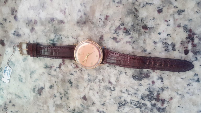 1960s Vintage Omega Watch Rose Gold Filled Rose Gold Dial Leather Band In Good Condition For Sale In San Diego, CA
