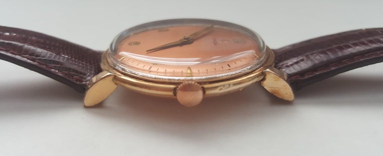 Women's or Men's 1960s Vintage Omega Watch Rose Gold Filled Rose Gold Dial Leather Band For Sale