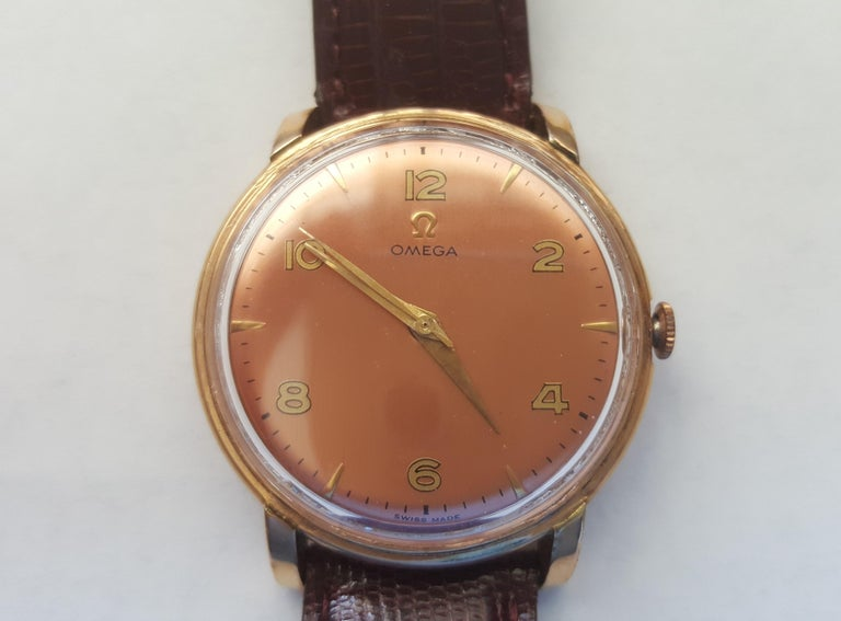 1960s Vintage Omega Watch Rose Gold Filled Rose Gold Dial Leather Band For Sale 1
