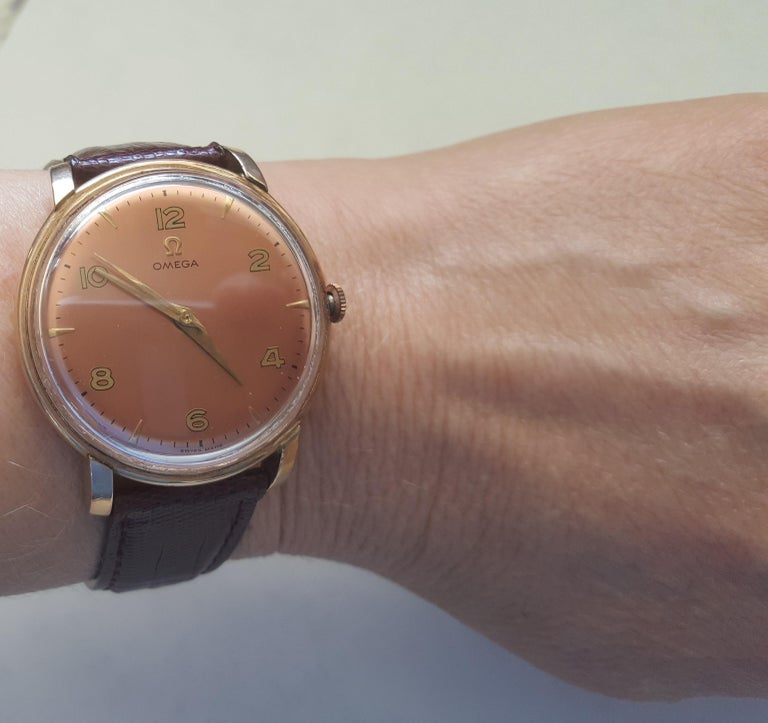 1960s Vintage Omega Watch Rose Gold Filled Rose Gold Dial Leather Band For Sale 3