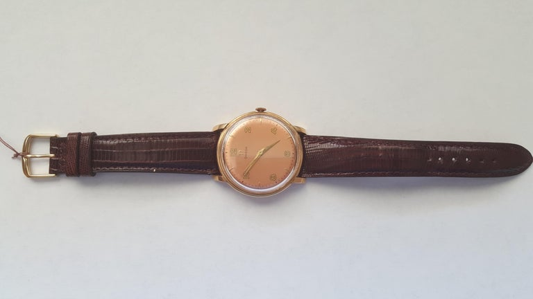 1960s Vintage Omega Watch Rose Gold Filled Rose Gold Dial Leather Band For Sale 4