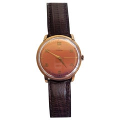 1960s Vintage Omega Watch Rose Gold Filled Rose Gold Dial Leather Band