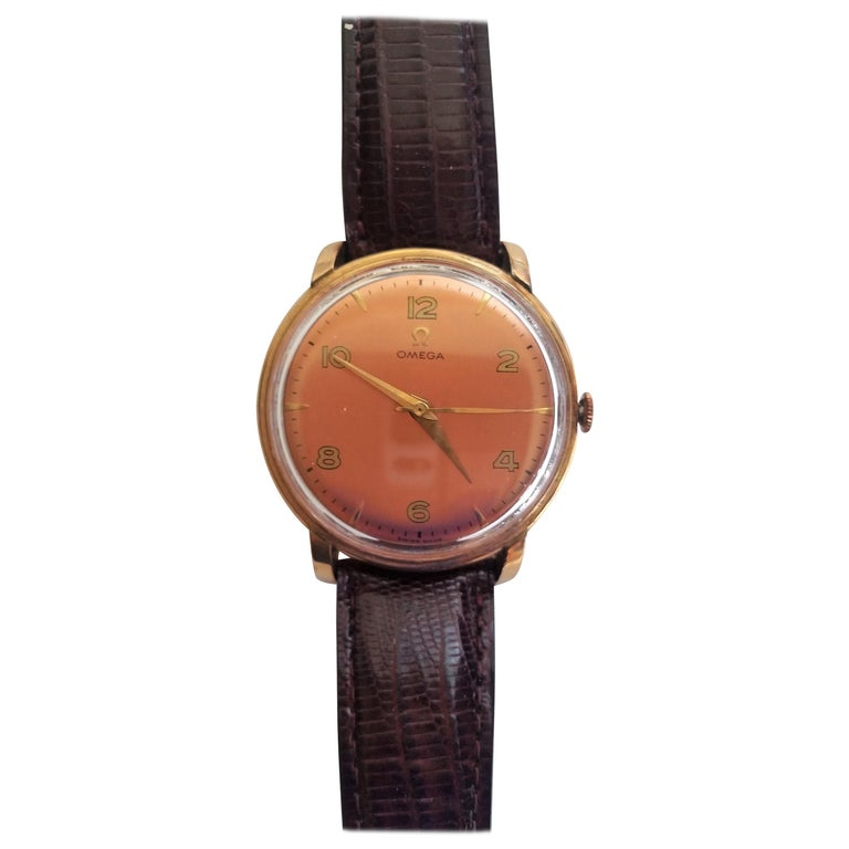 1960s Vintage Omega Watch Rose Gold Filled Rose Gold Dial Leather Band For Sale