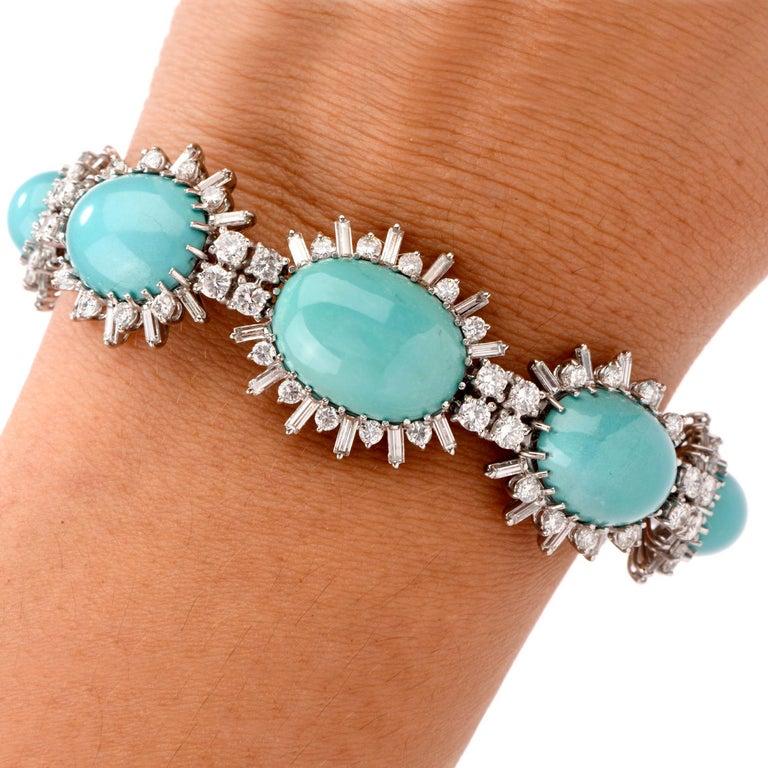 Women's 1960s Vintage Persian Turquoise Diamond 18 Karat Gold Bracelet For Sale