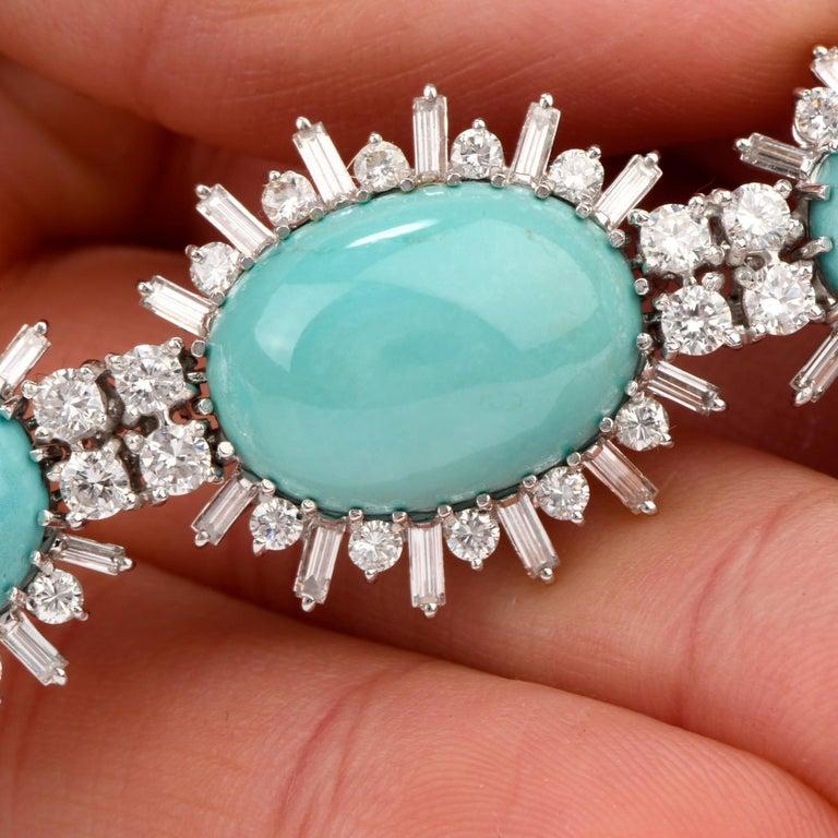 1960s Vintage Persian Turquoise Diamond 18 Karat Gold Bracelet For Sale 3