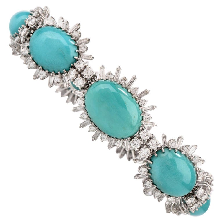 1960s Vintage Persian Turquoise Diamond 18 Karat Gold Bracelet For Sale