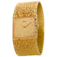1960s Vintage Piaget Ref. 935A68 18 Karat Yellow Gold Textured Watch