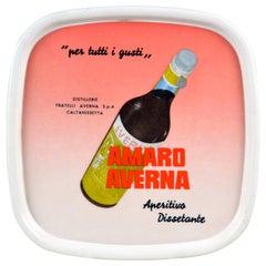 1960s Vintage Plastic Italian Amaro Averna Rounded Bar Tray