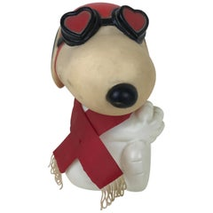 1960s Vintage Plastic Model of Snoopy Wearing Scarf and Heart Shaped Googles