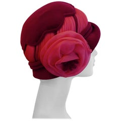1960s Vintage Plush Velvet Cloche Hat by Mitzi Lorenz London