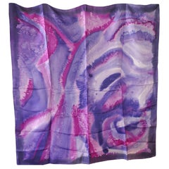 1960s Vintage Psychedelic Silk Chiffon Tie Dyed Scarf, Retro Chic