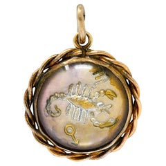 1960's Vintage Reverse Carved Rock Crystal 14 Karat Gold Scorpio Zodiac Charm