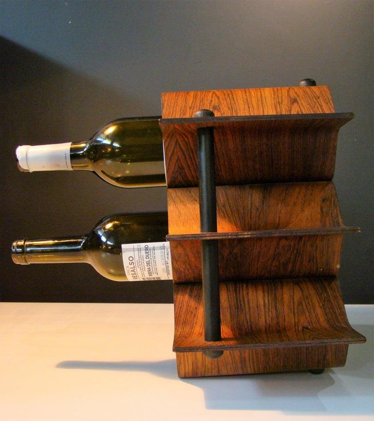 1960's Vintage Rosewood Wine Rack by Torsten Johansson for AB Formtra 'Sweden' In Good Condition For Sale In Denver, CO