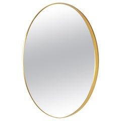 1960s Vintage Mirror with round Golden Frame