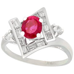 1960s Vintage Ruby and Diamond White Gold Cocktail Ring