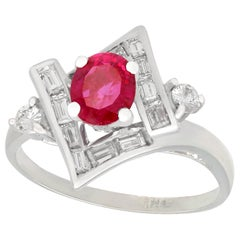 1960s Vintage Ruby and Diamond White Gold Dress Ring
