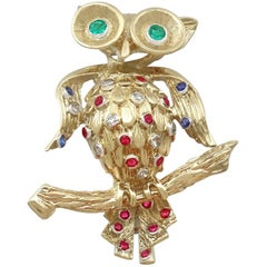 1960s Vintage Ruby Sapphire Emerald and Diamond, Yellow Gold 'Owl' Brooch