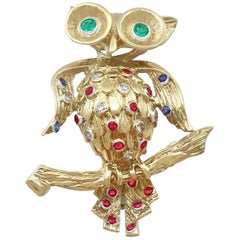 1960s Vintage Ruby Sapphire Emerald and Diamond Yellow Gold 'Owl' Brooch
