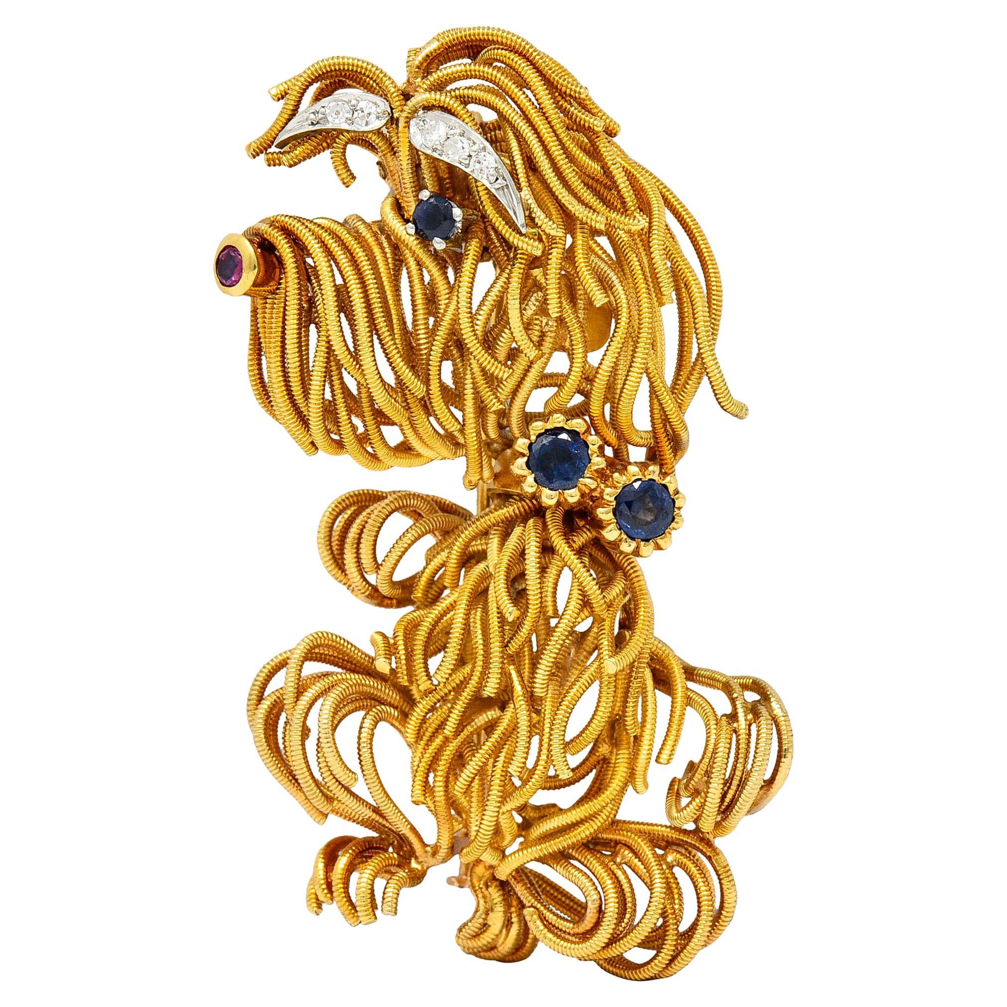 1960's Vintage Sapphire Ruby Diamond 18 Karat Gold Whimsical Maltese Dog Brooch