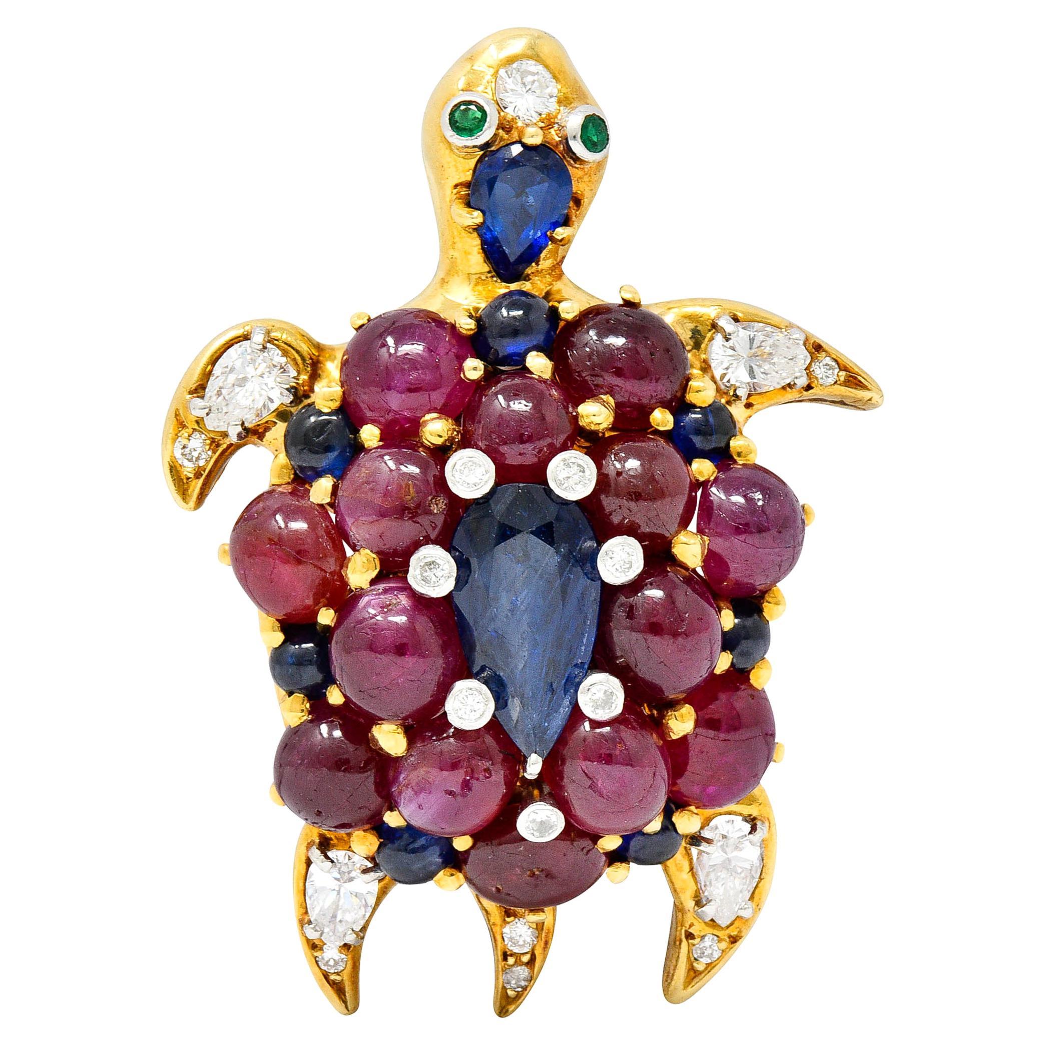 1960's Vintage Sapphire Ruby Diamond 18 Karat Two-Tone Gold Turtle Brooch