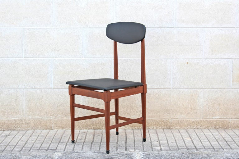 Faux Leather 1960s Vintage Scandinavian Dining Chairs, Set of Four For Sale