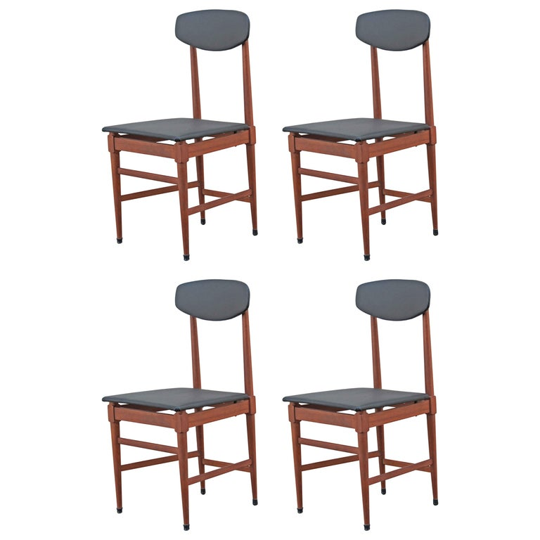 1960s Vintage Scandinavian Dining Chairs, Set of Four For Sale