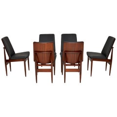 1960s Vintage Set of 6 Danish Dining Chairs