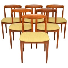 1960s Vintage Set of Six Danish Teak Dining Chairs