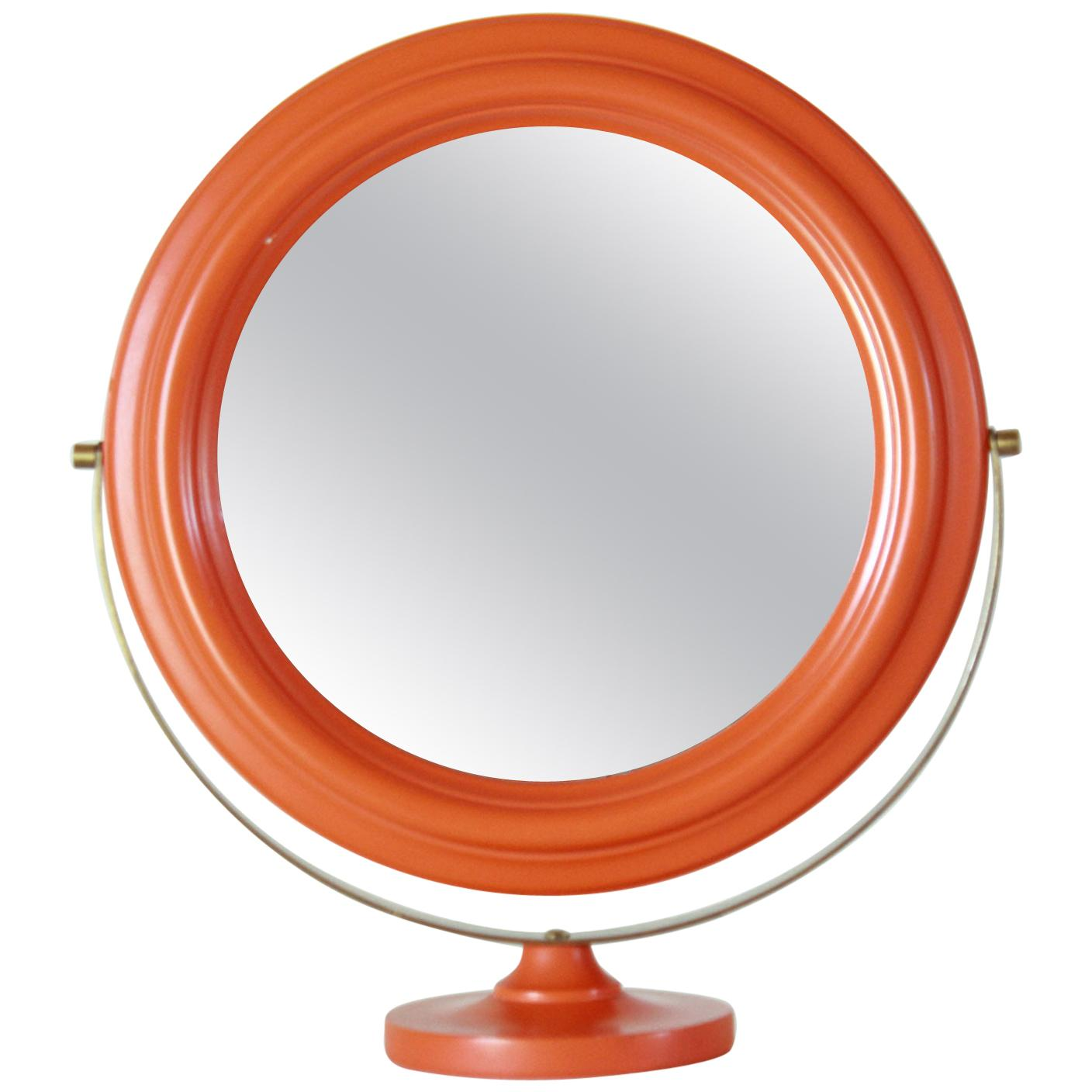 1960s Vintage Round Table Mirror with Orange Wood Frame and Brass Base