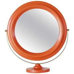 1960s Vintage Mirror with orange wood frame