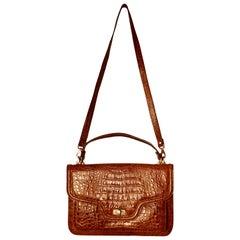 1960s Vintage Tan Crocodile Hand/Shoulder Bag