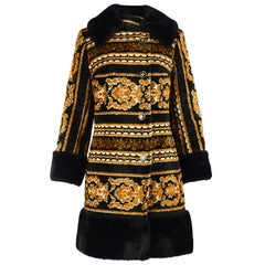 1960s Vintage Tapestry & Black Faux Fur Black & Orange Boho Carpet Coat
