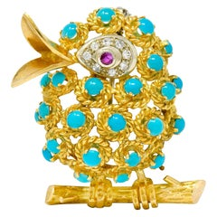 1960s Vintage Turquoise Diamond Ruby 18 Karat Gold Singing Bird Brooch