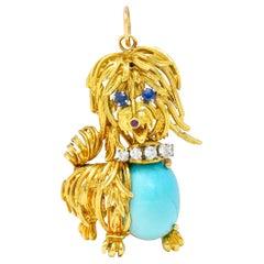 1960's Vintage Turquoise Sapphire Diamond 18 Karat Gold Maltese Dog Pendant