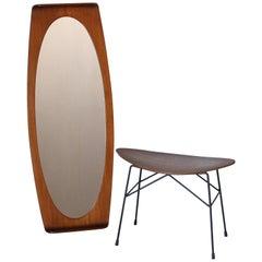 1960s Vintage Wall Mirror and Vintage Stool